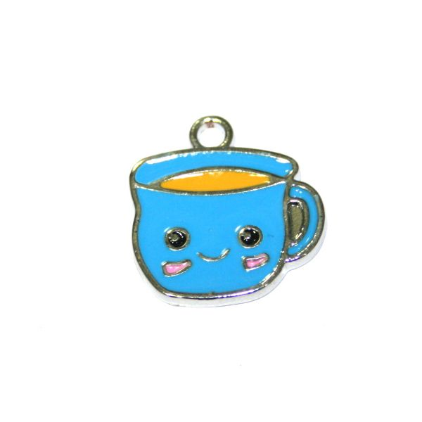 1pce 16*14mm Rhodium plated blue cuppa / cup of tea enamel charm - S.D03 - CHE1166